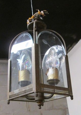 & Elegant Vintage Etched Glass Panel Light Fixture An Cincinnati Estate 3 photo