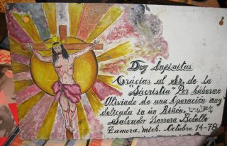 Vintage Exvoto/retablo On Tin Man Thanking Our Lord For Miracle Performed photo