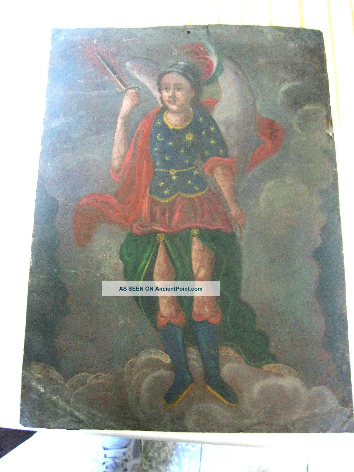 Antique Retablo On Tin Image Of Archangel Michael 10  By 14 Latin American photo