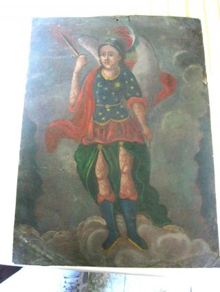 Antique Retablo On Tin Image Of Archangel Michael 10  By 14 photo