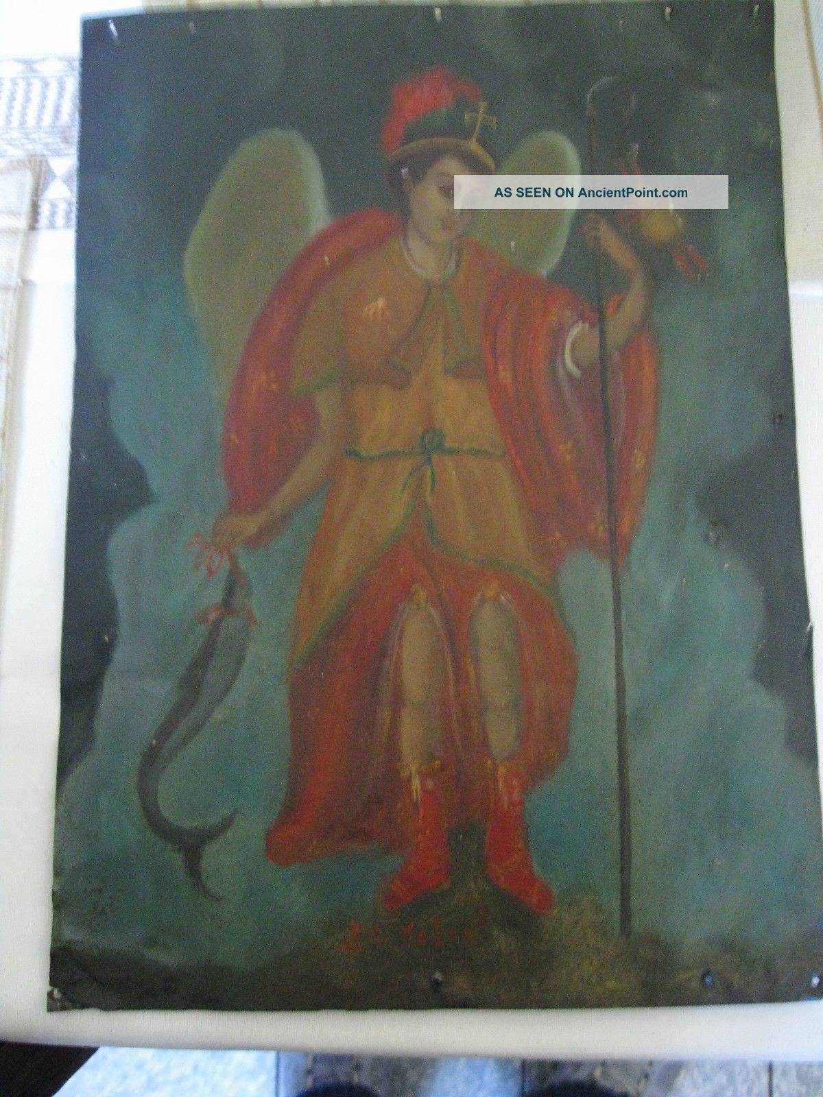 Antique Retablo On Tin Of The Archangel Raphael 10  By 14  Piece Latin American photo