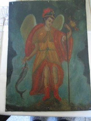 Antique Retablo On Tin Of The Archangel Raphael 10  By 14  Piece photo