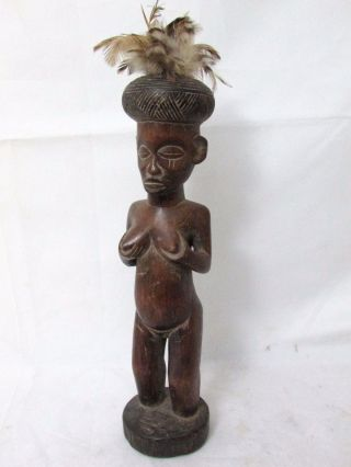 African Art Chokwe Female Shrine Figure Collectible African Tribal Art photo
