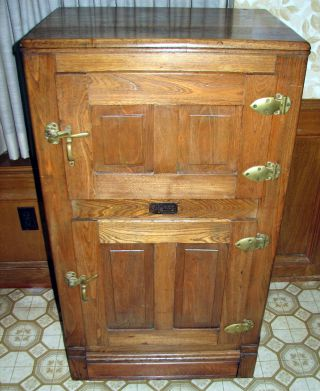 Antique Oak Ice Box, 2 Door, M. J. Schwenk Furniture, Chicago, Ill Photo