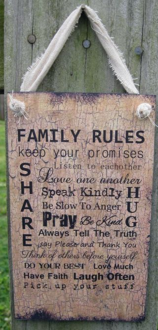 Family Rules Hanging Wall Sign Plaque Country Primitive Rustic Lodge Cabin photo