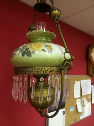 Victorian Oil Parlor Lamp Brass,  Handpainted Milk Glass Shade. photo