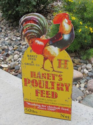 Large Rooster Sign Poultry Grain Feed Primitive/french Country Farmhouse Decor photo