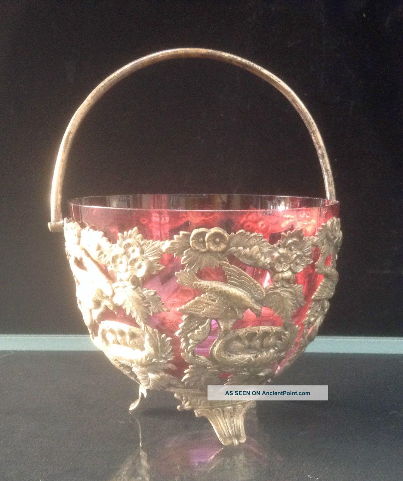Victorian Silver Plated Sweetmeat Basket & Cranberry Glass Liner Greek Key Feet Sugar Bowls/ Tongs photo