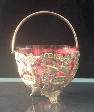 Victorian Silver Plated Sweetmeat Basket & Cranberry Glass Liner Greek Key Feet photo