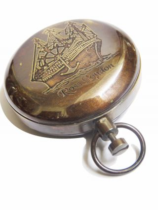 Ross London Brass Dalvey Pocket Compass In Antique Finish photo