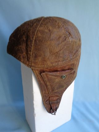 Antique Leather Spaulding Helmet U.  S.  Pat 255 ? Football Bicycle Boxing Man Cave photo