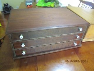 Antique 3 Drawer Solid Walnut Country Store Spool Cabinet Thread Display photo