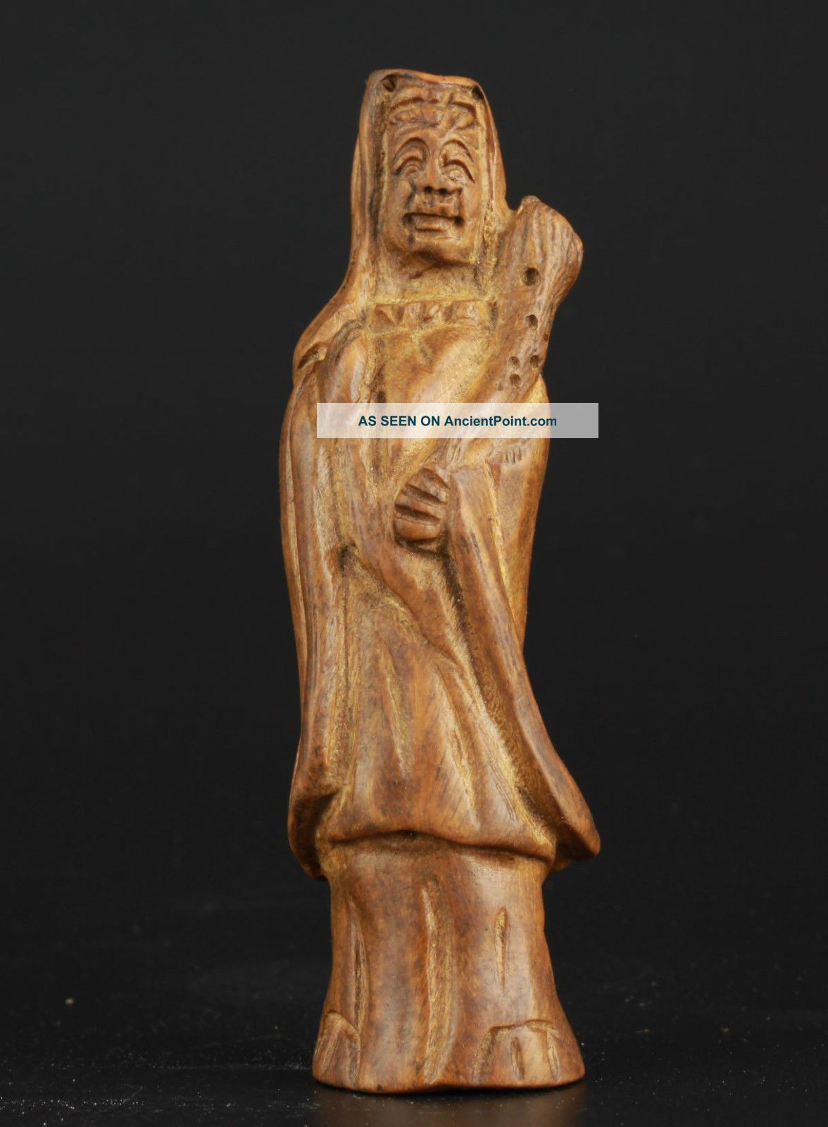 China Collectable Handmade Carving Bow Down Green Ebony Efficacy Guanyin Statue Buddha photo