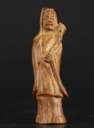 China Collectable Handmade Carving Bow Down Green Ebony Efficacy Guanyin Statue photo