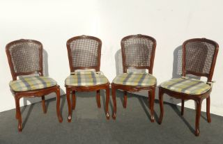 Four French Provincial Cane Dining Rooms Chairs W Yellow Plaid Cushions (4of5) photo