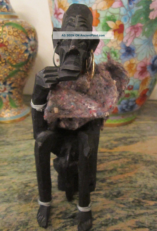 Vintage African Hand Carved Wooden Elder Seated Man Sculpture Figurine Statue Sculptures & Statues photo