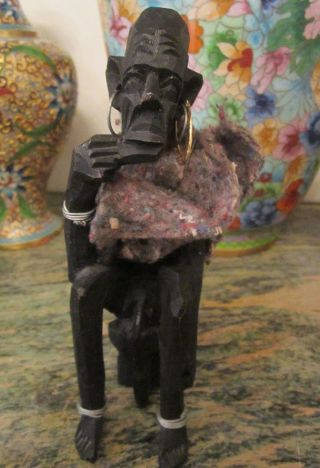 Vintage African Hand Carved Wooden Elder Seated Man Sculpture Figurine Statue photo