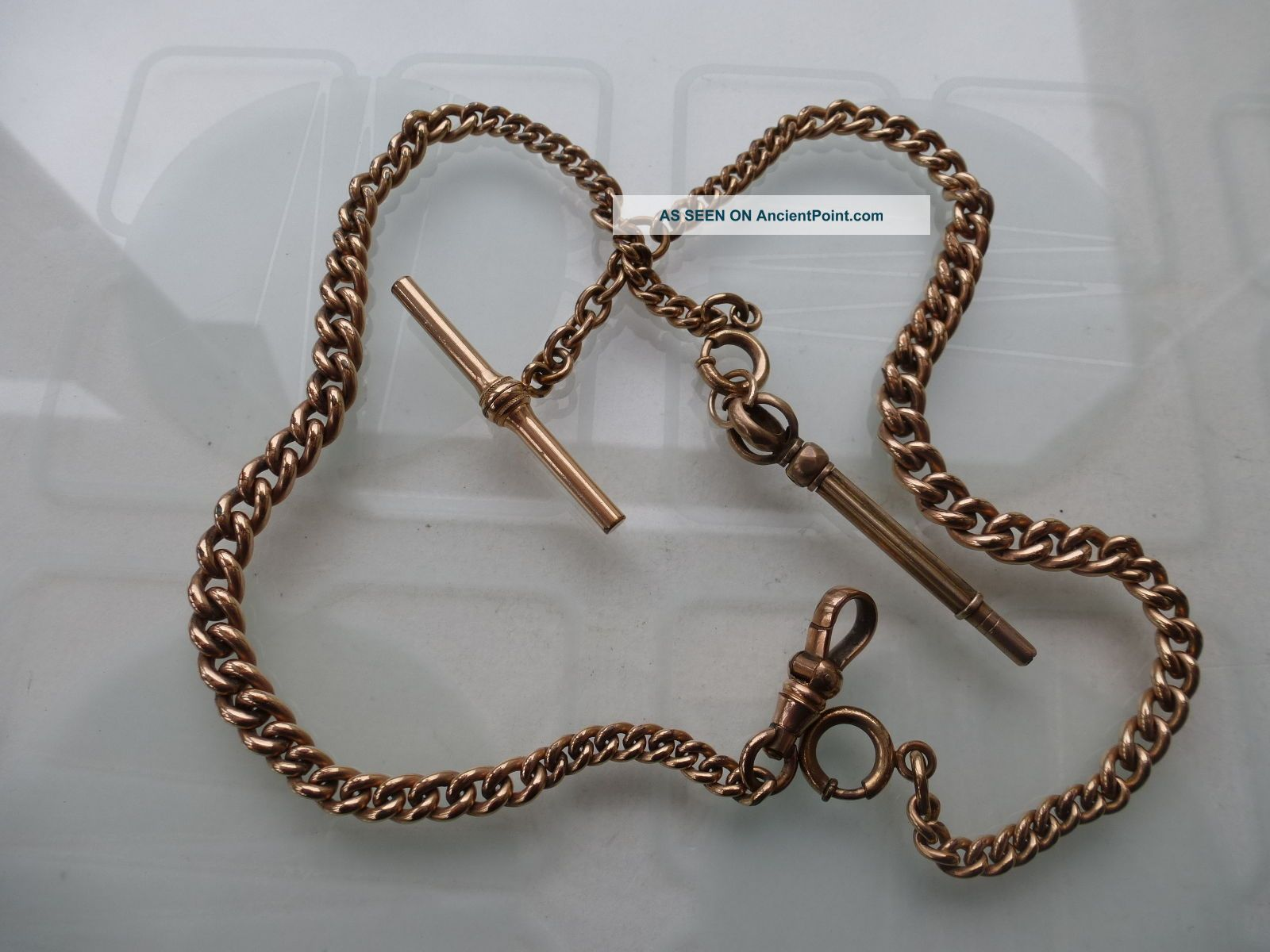 Victorian Rose Gold Plated Double Albert Pocket Watch Chain & Key Fob Pocket Watches/ Chains/ Fobs photo
