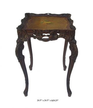 Unique French Style Handmade Wood Carving End Table,  Plant Stand F867 photo