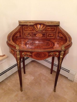 Antique French Louis Xv Kidney Antique Style Desk With Inlay And Brass photo