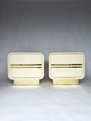 Pair Vintage White Ivory Lacquered Brass Plinth Nighsttands Milo Baughman Style photo