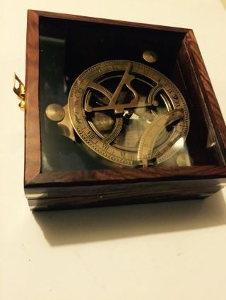 Solid Brass Collectable Large Sundial Compass With Wooden Box (amat 1144) photo
