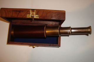 Solid Brass Nautical Collectable Ship Telescope 14 Inch With Wood Case (ve - 1948) photo