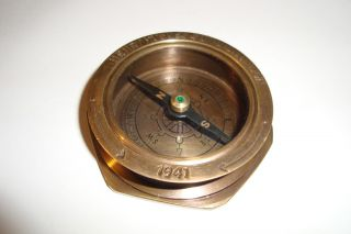 Solid Brass Compass Collectable (royal Navy) photo
