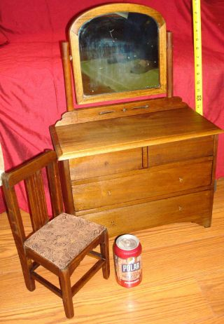 Antique Salesman Sample Walnut Dresser W/mirror And Chair Child Size Vintage photo