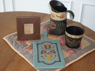 Primitive Folk Art Decor - Assorted Goodies - Tin Pitcher&pail,  Bread Board,  Stitchery photo