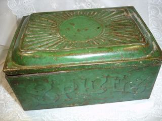 Primitive Green Paint Tin Toleware 6 Cannisters Spice Box,  With Spices photo