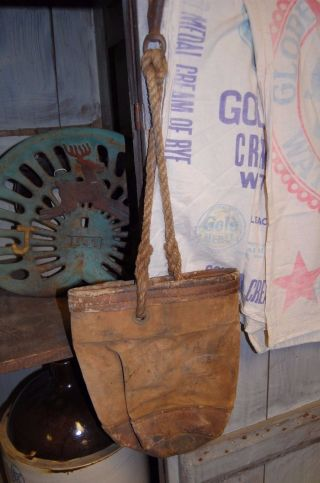 Antique Americana Equestrian Primitive Leather & Rope Feed Bag Sack photo