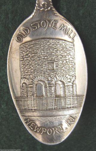 Sterling Souvenir Spoon Newport,  Ri Old Stone Mill,  1900 photo