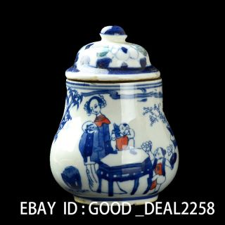 Chinese Blue And White Porcelain Hand - Painted Women & Kid Pots photo