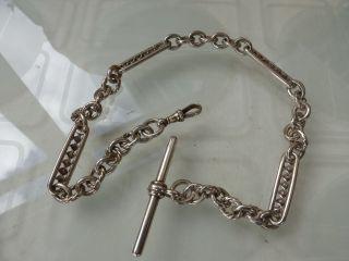 Vintage Solid Sterling Silver Corkscrew Bar Fancy Link Albert Watch Chain photo