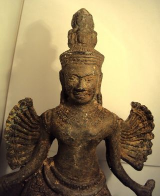 Stunning Larger Dancing Bronze Vishnu Statue,  Buddha From Angkor Wat Cambodia. photo
