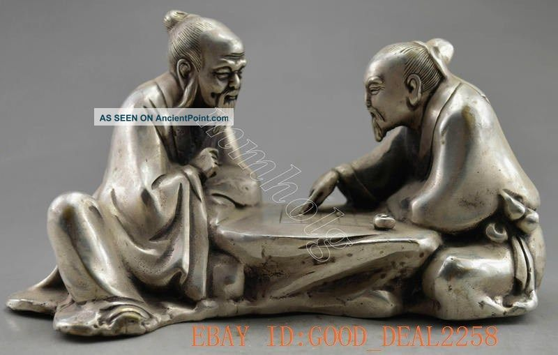 Collectible Decorated Old Handwork Tibet Silver Carve Elder Play Chess Statue Buddha photo