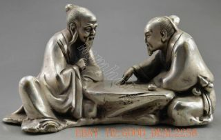 Collectible Decorated Old Handwork Tibet Silver Carve Elder Play Chess Statue photo