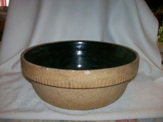 Antique - Deel Economy Cookin Ware Health Tan Stoneware Bowl Pat.  1885 photo