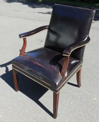 Antique Black Leather Reeded Mahogany Neo Classical Arm Chair photo
