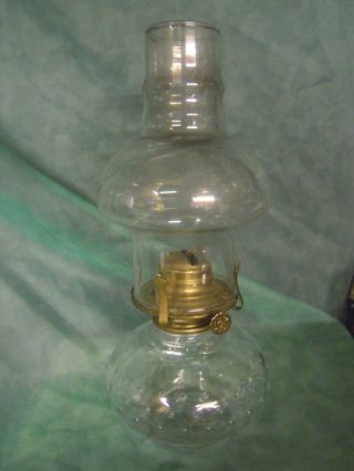 Vintage Clear Glass Oil Lamp photo