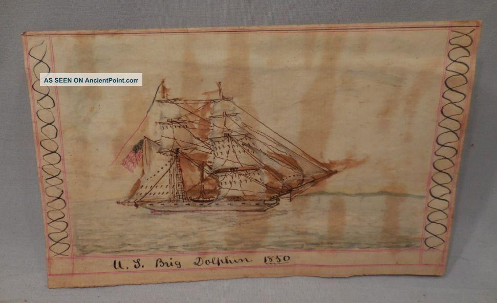 1850 Pen Ink Ship Drawing U.  S.  Brig Dolphin 4 1/2
