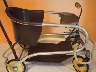 Vintage Metal Toddler Baby Walker/stroller - 1930 ' S/40 ' S Wooden Handle Thayer photo