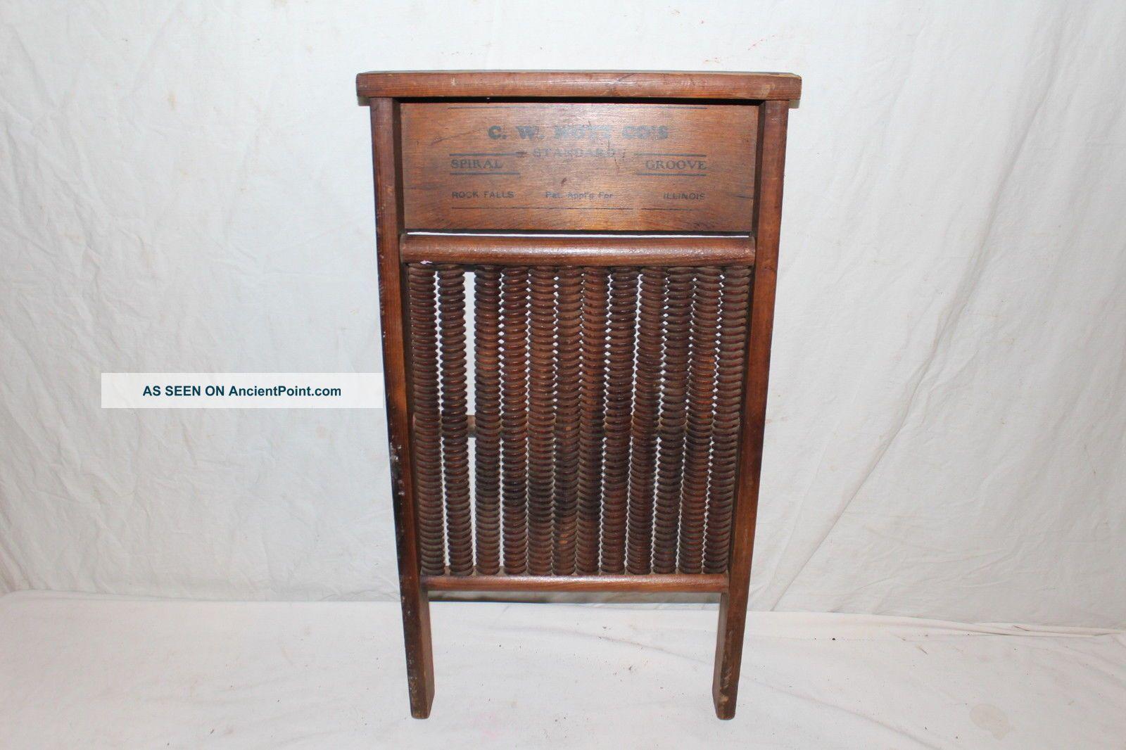 Rare Antique C.  1900 C.  W.  Mott Spiral Groove Wood Washboard Primative Kitchen Tool Washing Machines photo