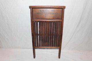 Rare Antique C.  1900 C.  W.  Mott Spiral Groove Wood Washboard Primative Kitchen Tool photo