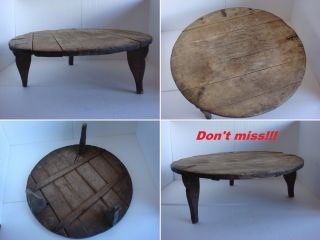 Rare 19th Century Antique Primitive Typical Balkans Low Round Dining Table photo