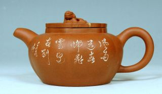 A Perfect Antique Chinese 20th C Redclay Stoneware Yixing Teapot With Carvings photo