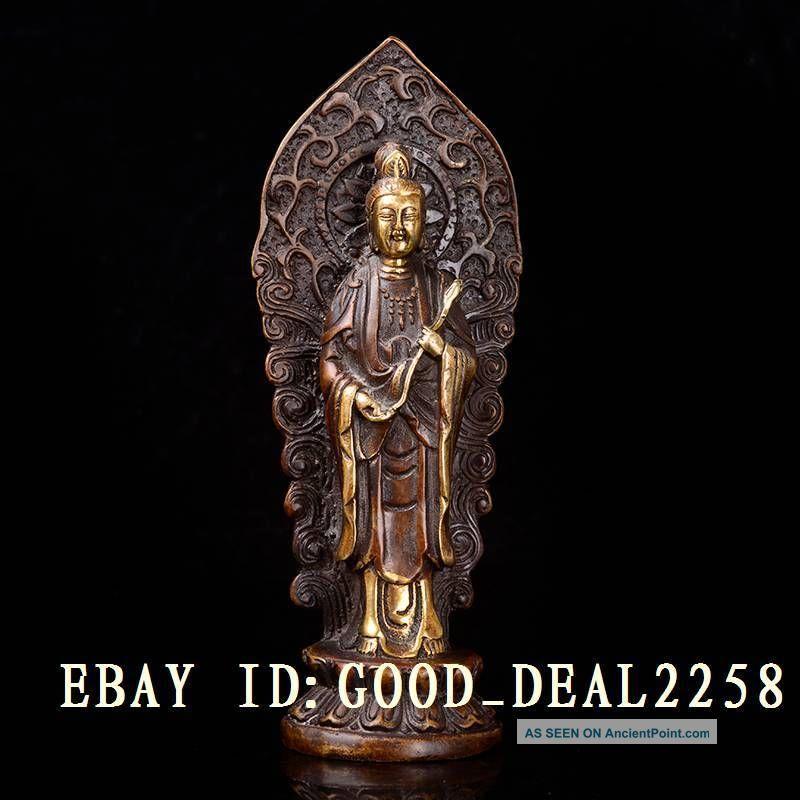 Chinese Retro Brass Gilt Hand - Carved Kuan - Yin Statue W Ming Xuande Mark Buddha photo