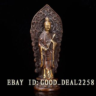 Chinese Retro Brass Gilt Hand - Carved Kuan - Yin Statue W Ming Xuande Mark photo