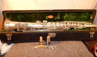 Rare Straight Sax,  J.  W.  York And Sons Band Instrments,  1928,  Ser.  94795 photo